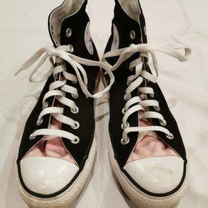 Converse | Black & Pink Hi Top Chuck Taylors